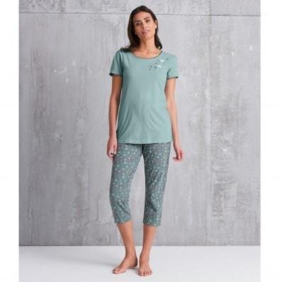 Pyžamové tričko s potiskem květin a krátkými rukávy