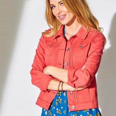 Krátká džínová bunda, barevná