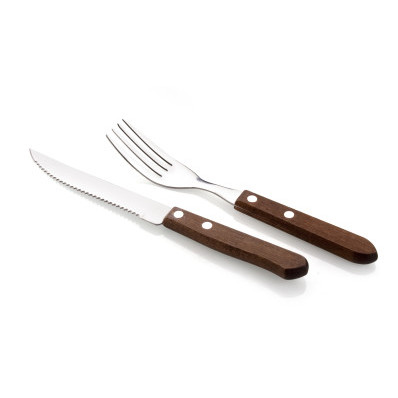 Steak evőeszközkészlet, fanyeles