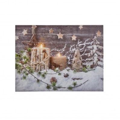 Obraz s LED žiarivkami, vianočný motív