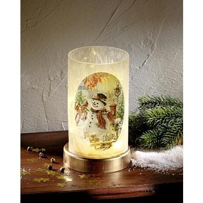 LED-es üveg gyertyatartó Hóember