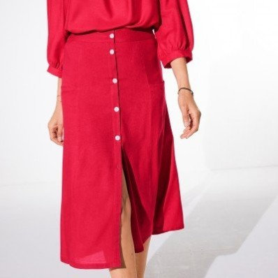 Jednofarebná dlhá sukňa s gombíkmi