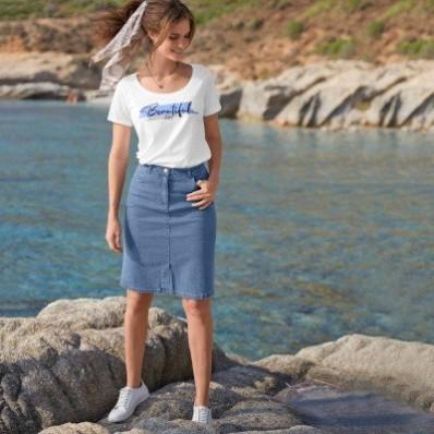 Džínsová sukňa s rozparkom vpredu, ekologické spracovanie