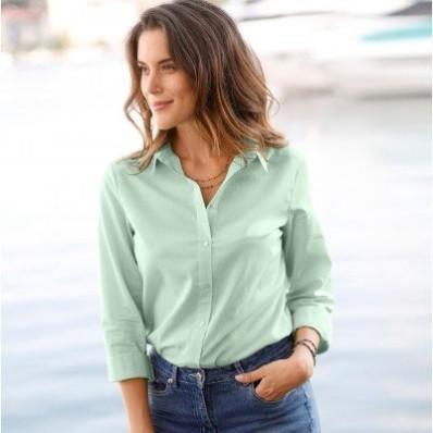 Jednofarebná košeľa s dlhými rukávmi