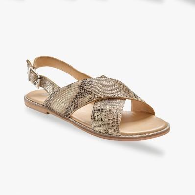 Ploché kožené sandále, hadí vzor
