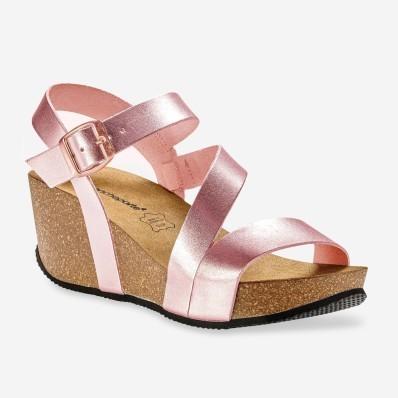 Kožené sandále na kline, ružové