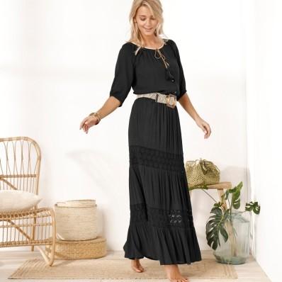 Długa spódnica z makramą