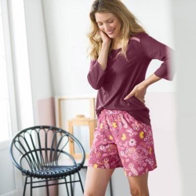Pyžamové tričko s 3/4 rukávmi, jednofarebné