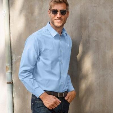 Jednobarevná košile s dlouhými rukávy, popelín