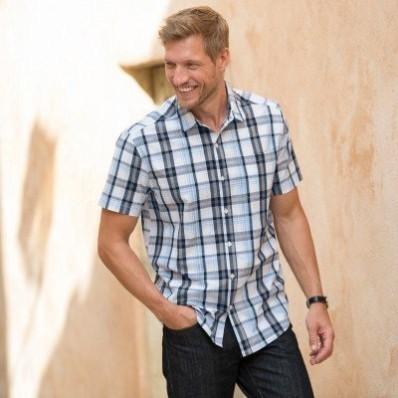 Kostkovaná košile s krátkými rukávy, popelín