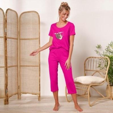 Pyžamo s 3/4 nohavicami, motív leňochodov