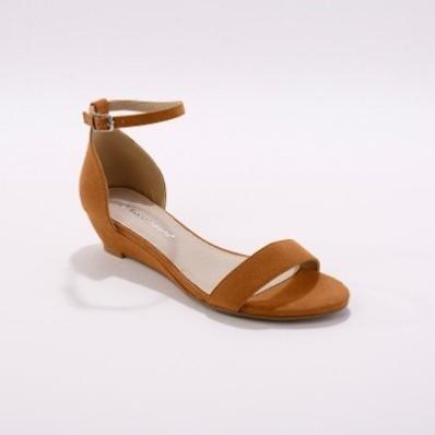 Sandály na klínku, tmavě béžové