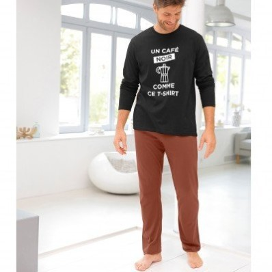 Dvojfarebné pyžamo s dlhými rukávmi nohavicami