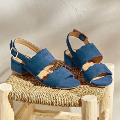 Sandále z koženej usne, námornícky modré