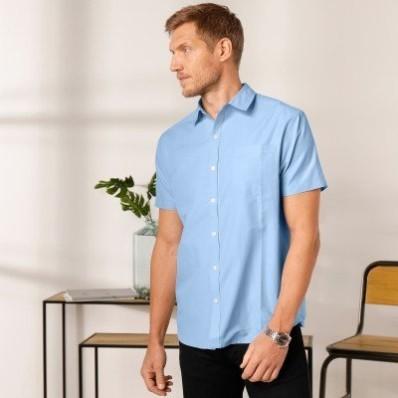 Jednofarebná košeľa s krátkymi rukávmi, popelín