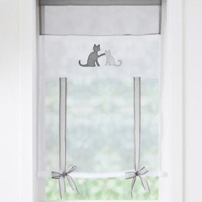 Vitrážová záclona s vyhrnutím, s motívom mačiek