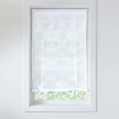 Vitrážová záclona na vytažení, s efektem lnu