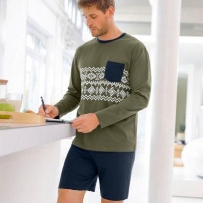 Pyžamové tričko s dlouhými rukávy a potiskem