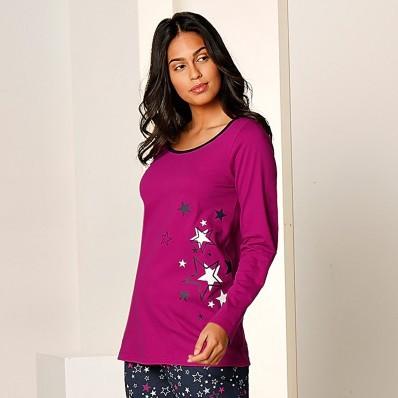Jednofarebné tričko s dl. rukávmi a hviezdami, bavl. džersej
