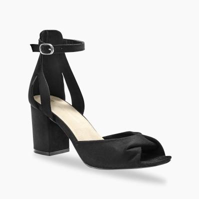 Sandály na podpatku, černé