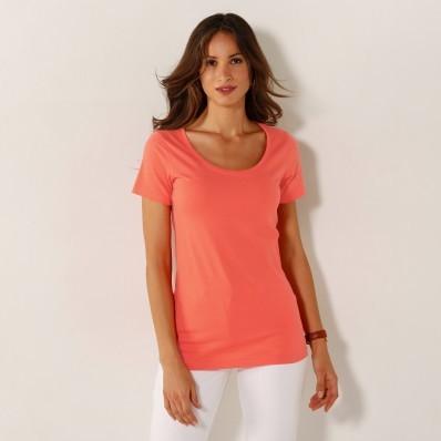 Jednofarebné tričko s okrúhlym výstrihom
