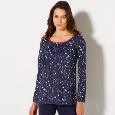 Tričko s dlhými rukávmi a potlačou hviezd, bavlnený džersej