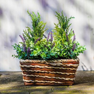 Koš s rostlinami a vřesem