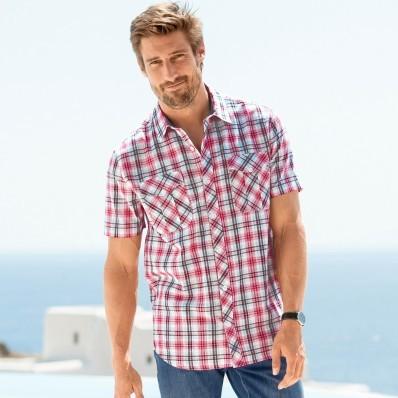 Kockovaná košeľa s krátkymi rukávmi