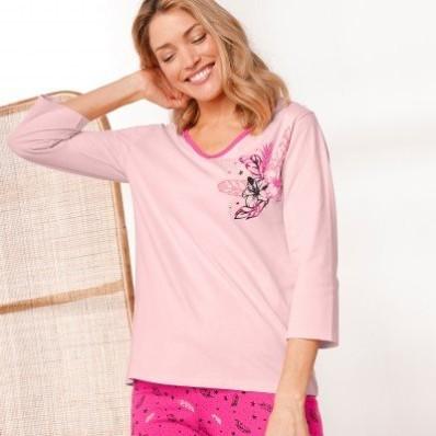 Pyžamové tričko se 3/4 rukávy a středovým potiskem květin