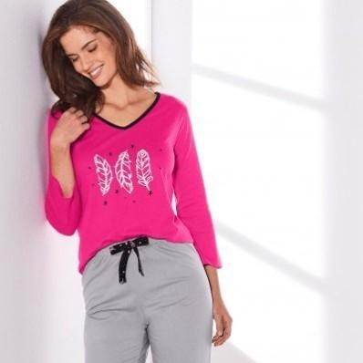 Pyžamové tričko se 3/4 rukávy a středovým motivem peříček
