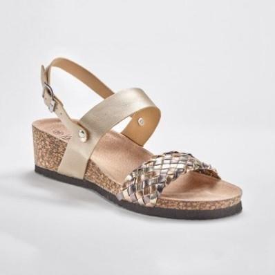 Sandále na kline, ružovozlaté