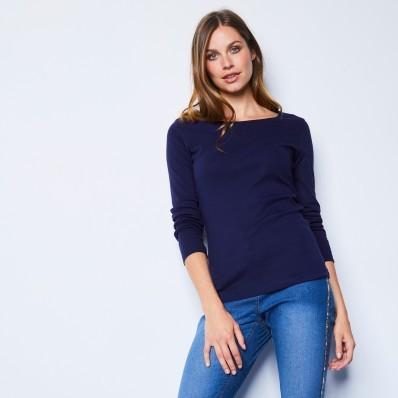 Tričko s dlhými rukávmi, námornícka modrá, eko výroba