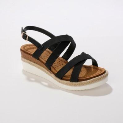 Sandály s překříženými pásky, černé