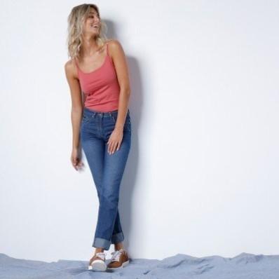 Rovné džínsy s push-up efektom, certifikát Öko-Tex, farba stone