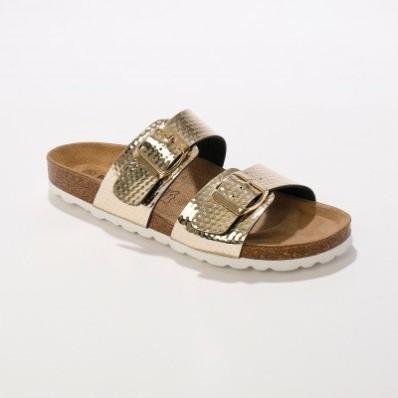 Pantofle s 2 pásky a sponami
