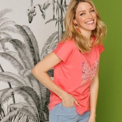 Tričko s motýlími rukávy, korálové, eco-friendly