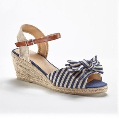 Plátěné sandály na klínku, námořnické pruhy