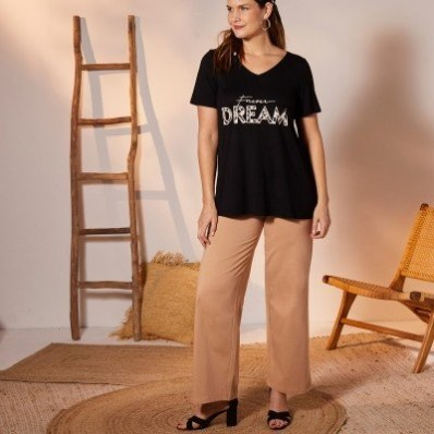 Široké úpletové kalhoty, jednobarevné