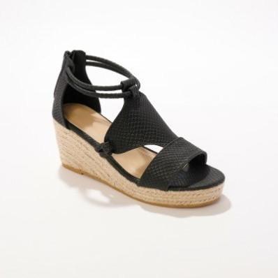 Šňůrkové sandály na klínovém podpatku, černé