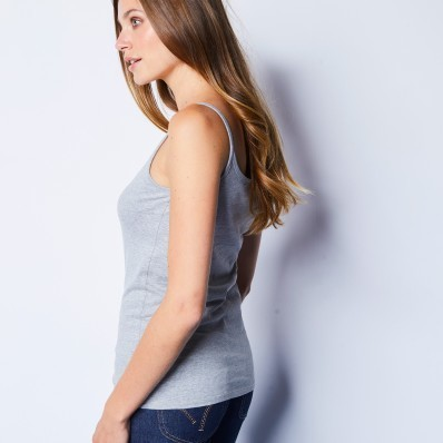 Bavlnený top s úzkymi ramienkami, sivý melír, eko výroba
