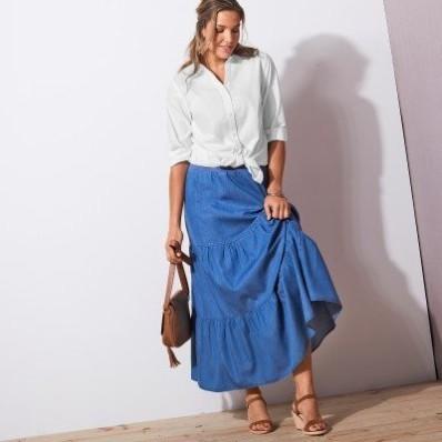 Dlouhá džínová sukně s volány