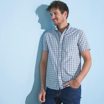 Kostkovaná košile, rovný střih, krátké r