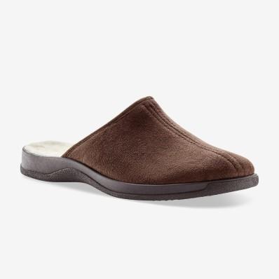 Široké jednofarebné papuče, vlna
