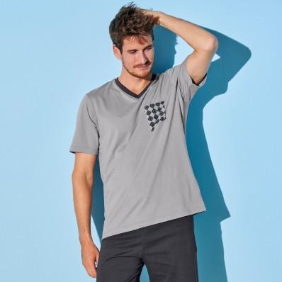Pyžamové tričko s krátkými rukávy, světl