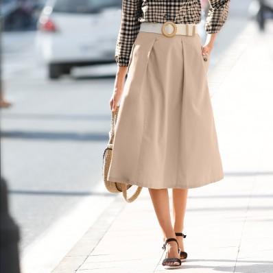 Široká sukňa s vreckami a gombíky