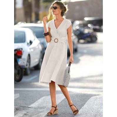 Šaty s prekrížením, bavlna/ľan