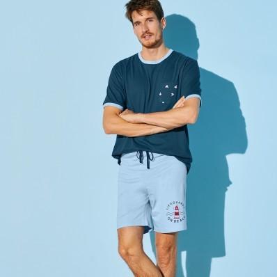 Pyžamové šortky, světle modré