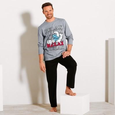 Pyžamo Šmolkovia: tričko s dlhými rukávm