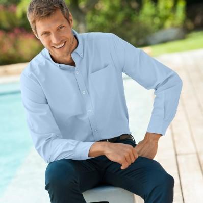 Jednofarebná košeľa, rovný strih, dlhé r