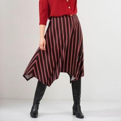 Pruhovaná asymetrická sukňa